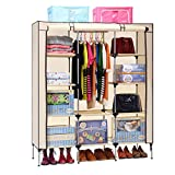 Aojia Canvas Wardrobe Clothes Hanging Rail Cupboard Clothes Storage Organiser Dimensions: 125cm Width, 43cm Depth, Height 160cm 8104yellow