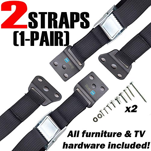 SmartMe TV and Furniture Anti-Tip Straps For Baby Proofing - Only Metal Parts - Durable, Heavy Duty Child Safety TV Straps, Earthquake Furniture Anchors, All Mounting Hardware Included, 2 Pack (Black) (55 Inch Tv Stand With Mount compare prices)