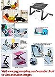 ERGONEER-Hhenverstellbarer-Laptop-Stnder-mit-Notebook-Klemmen-Erstklassiger-beweglicher-Laptop-Fach-w-Flexible-Beine-Robuste-Folding-Belftet-Notebook-Computerstand-Wandelt-in-Sitz-Steh-Schreibtisch