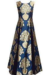 Nikki Fab Blue Banarsi Semistitched PartyWear Gown