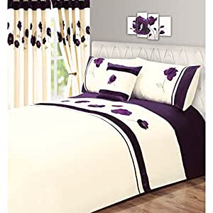 parure de lit motif floral lit simple prune cuisine maison. Black Bedroom Furniture Sets. Home Design Ideas