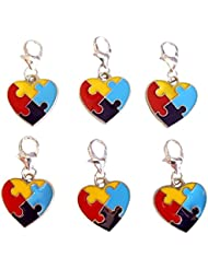 6 Autism Awareness Puzzle Piece Heart Clip On Lobster Clasp Charms Package Of 6