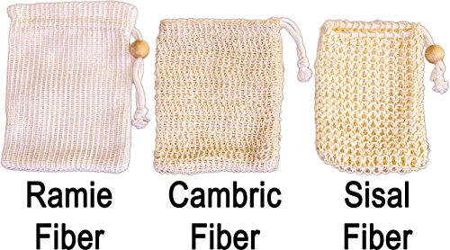 Soap Saver Sampler - Natural Skin Care - Eco-Friendly Bath Exfoliating - Learn Differences of Sisal, Cambric and Ramie Fiber Pouches from SeaSationals