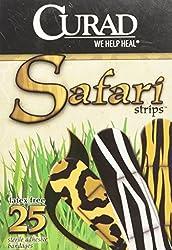 Safari Adhesive Bandaids Bandages 25 Piece 3 Animal Prints Latex Free