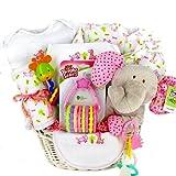 Elephant & Giraffe New Baby Girl Gift Basket - Shower Gift Idea for Newborn