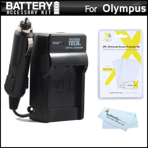 Battery Charger Kit For Olympus Stylus Sz-15, Sz-16 Ihs, Tg-630 Ihs, Tg-830 Ihs, Tg-850 Ihs Digital Camera Includes Ac/Dc 110/220 Rapid Travel Charger For Olympus Li-50B Battery + Lcd Screen Protectors + Microfiber Cloth