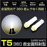 T5 LED ホワイト 拡散/広角 全面360度発光 バルブ/白 2個セット _25174