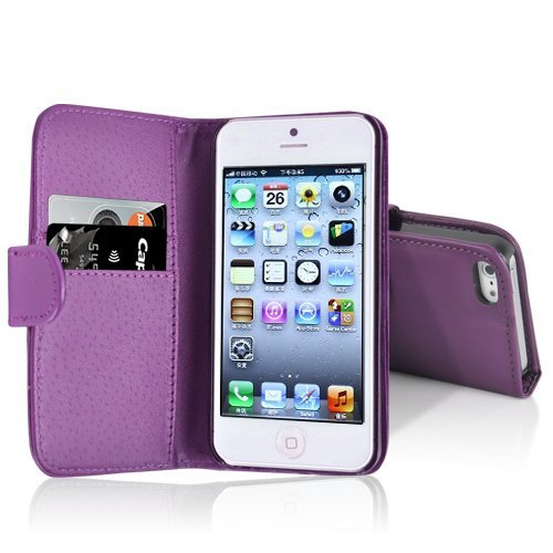 Purple PU Leather Wallet Case Cover for iPhone 5 With Card Holders + Free Screen Protector & Polishing Cloth By Connect Zone TM