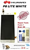 """ NUOVO HUAWEI P8 Lite BIANCO DISPLAY LCD COMPLETO ASSEMBLATO - BIANCO - Sped. 24h.+Kit rip.!"