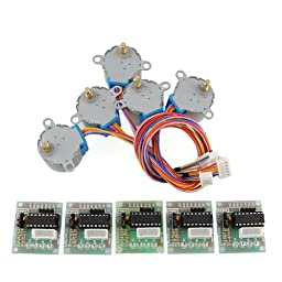 USPRO 5sets Stepper Motor 28BYJ-48 5V DC 4-Phase 5-Wire + ULN2003 Driver Board