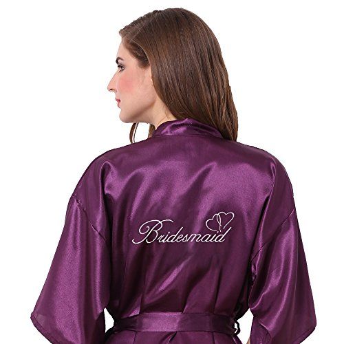 Joytton Women's Satin Kinono Robe with Embroidered Bridesmaid Dark Purple M
