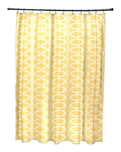 e by design Ovals Shower Curtain, Light Yellow/Ivory