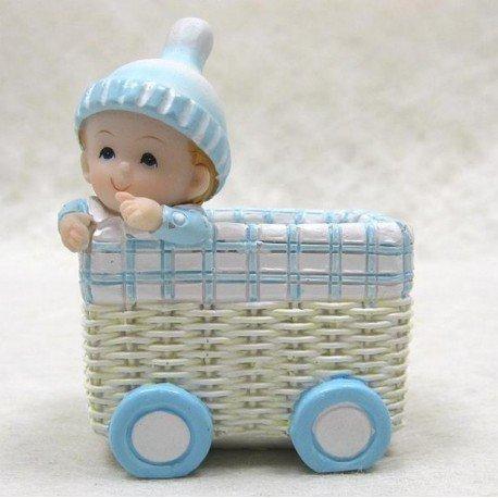 Mit mit Hochzeitsmandeln, Stubenwagen mit Baby Boy Figur, Harz, Länge 5 cm