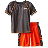 STX Big Boys' 2 Piece Performance Athletic T-Shirt and Short Set, Neon Orange, 10