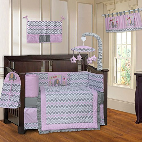BabyFad Elephant Chevron 10 Piece Baby Crib Bedding Set