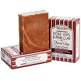Shea Terra Organics Rose Hips and Pink Clay Facial Cleansing Bar - approx 4 oz