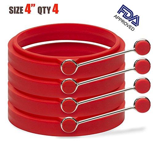 LUXEHOME BPA Free Silicone Egg &Pancake Slip Rings Poacher Pancake Set of 4 Diameter 10cm