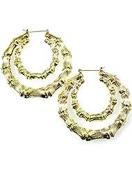 Huge bamboo double loop creole style hoop earrings fashion gold costume jewellery