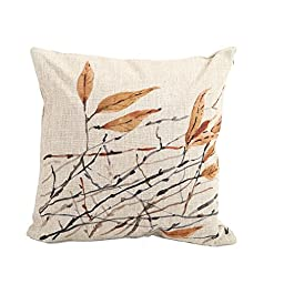 Createforlife Home Decor Cotton Linen Square Pillowcase Watercolor Art Tree Leaf Throw Pillow Sham Cushion Cover 18\