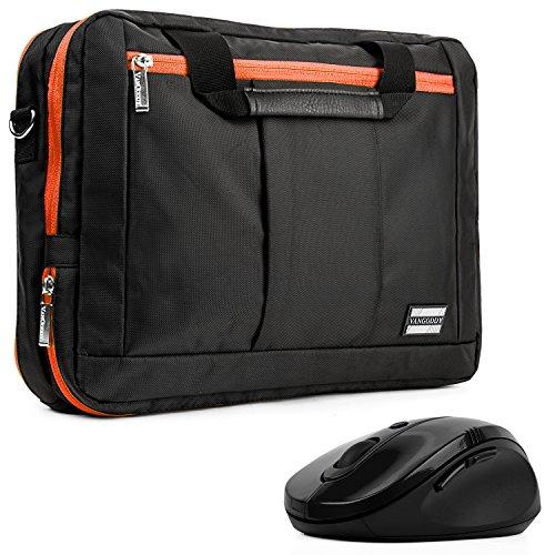Vangoddy El Prado Sling - Black Orange Deluxe Pro Shoulder Messenger Carrying Bag For Apple Macbook Pro 13 Retina Display & Air 13 Inch+ Black Wireless Mouse front-732248