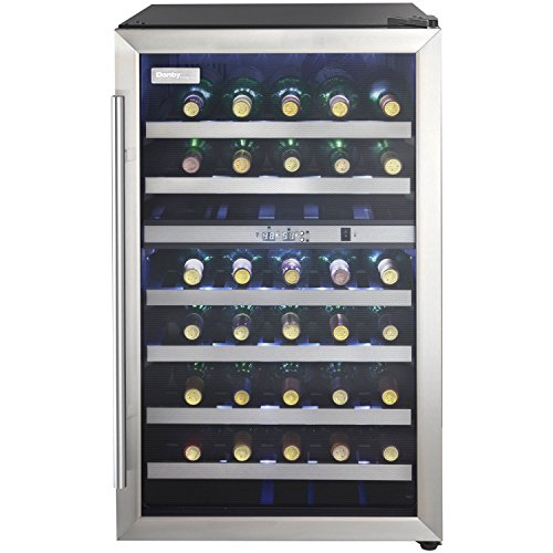 Danby DWC114BLSDD Designer 38-Bottle Dual-Zone Wine Cooler, Black/Stainless Steel/Glass