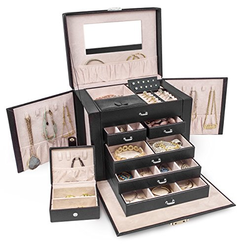 Sorbus® Jewelry Box Storage Organizer Travel Case with Lock - Includes Small Mini Travel Case