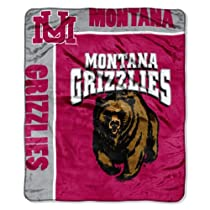 NCAA Montana Grizzlies School Spirit Royal Plush Raschel Throw Blanket, 50x60-Inch