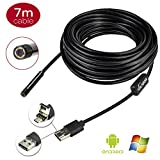 VOLADOR 5.5mm Phone Borescope USB Inspection Camera,2 In 1 Micro USB OTG Android Phone Endoscope USB Camera with 7M 23ft Long and 6 LEDs for Android 4.0+ Win7 Win8 Win10 OS