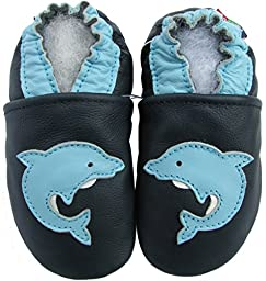 Carozoo unisex soft sole leather infant toddler kids shoes Dolphin Dark Blue 4-5y