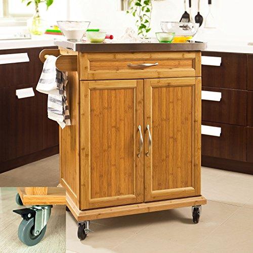 SoBuy-FKW13-N-Meuble-chariot-de-cuisine-de-service-roulant-Planc-de-travail-Desserte-avec-armoire-de-rangement-cusine-sur-roulettes-en-bambou-Plateau-en-Acier-Inox-L66cmxH90cmxP46cm
