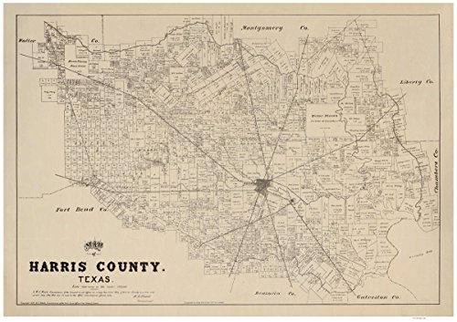 Harris County, Texas - 1879 - Wall Map Reprint With Land Owners names - General Land Office (Texas Land Owner compare prices)