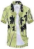 APTRO(アプトロ)メンズ シャツ アロハシャツ ワイシャツ 半袖 爽やか キレイめ系 フローラル プリント ハワイ風 通気速乾 襟付 ST22グリーン JP L(タグ S)