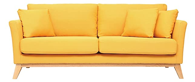 Miliboo - Divano scandinavo a 3 posti, colore: Giallo, piedi in legno, modello: OSLO