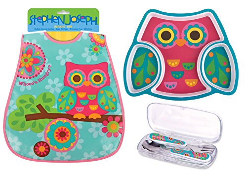 Stephen Joseph Toddler Meal Gift Set - Divided Plate, Wipeable Bib and Silverware Set - Owl Theme