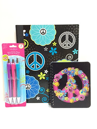Blue Peace Out! 3-piece back-to-school set includes Composition Book, One Mini spiral-bound notebook, One 3-pack of pens