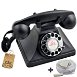 Protelx GPO 200 Classic Retro Rotary Dial Corded Telephone - Black, Plus BT 10m Telephone Extension Cableby Protelx