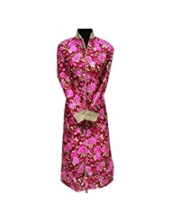 Red And Pink Printed Raw Silk Designer Party Wear Kurti