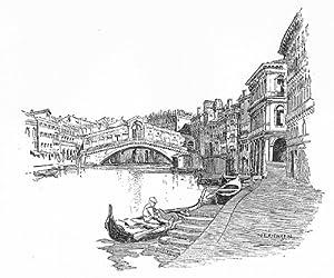 VENICE: Grand Canal, with Riva del Carbon & Rialto bridge, vintage print, 1930