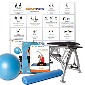 Pilates Chair - Bonus Pack (Pilates Chair, Giant Double Sided Fitness Chart, Exercise Mat, Pilates Ball and 3 Workout DVDs)