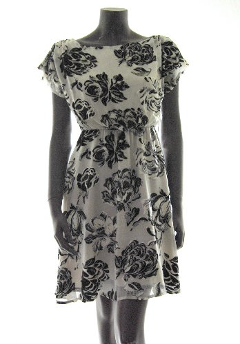 Alice + Olivia womens blk/cream velvet floral print silk dress XS