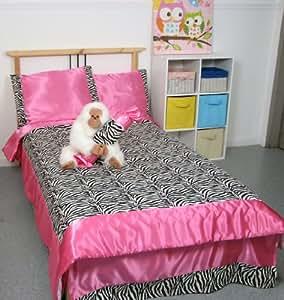 Soho hot pink satin and zebra print chenille for Zebra kitchen set