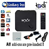 [2015 new arrivals] GooBang Doo MXV MX5 TV Box Fully loaded Add-ons and KODI Amlogic S805 Quad Core Google Android 4.4.2 Kitkat H.265 Wifi LAN Best Streaming Media Player Miracast with Cleaning Cloth