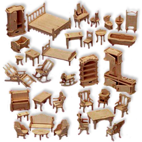 3-D Wooden Puzzle - Large Set Of Dollhouse Furniture -Affordable Gift for your Little One! Item #DCHI-WPZ-P077