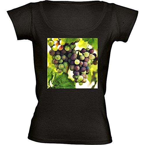 T-shirt Nero Girocollo Donne - Taglia S - Uva Da Vino, Autunno Cadere by Petra