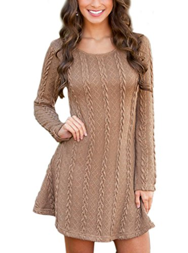 OURS Women's Plain A Line Cable Knit Sweater Dress (M, brown *)