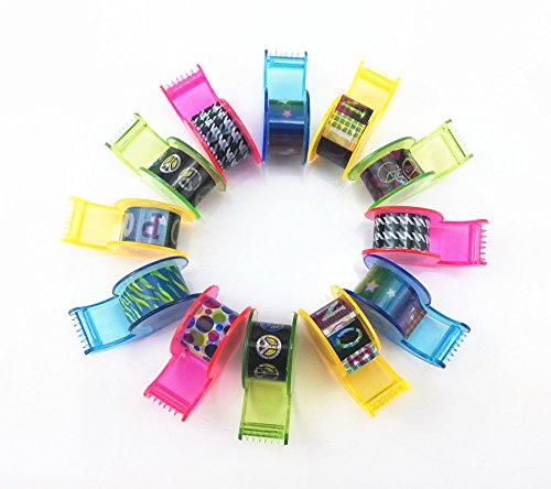 yueton 12pcs Mini Colorful DIY Decorative Masking Tape With Cute Dispenser (Mini Tape Dispenser compare prices)