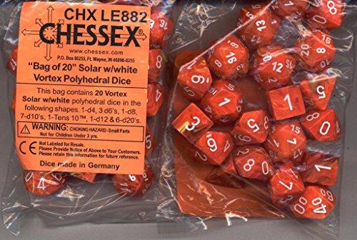 Chessex Bag Of 20 Rpg Dice: Vortex Solar Orange Marble With White (1 D4, 3 D6, 1 D8, 7 D10, 1 D100, 1 D12 & 6 D20)