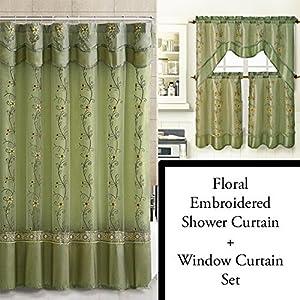 Sage Green Shower Curtain And 3 Pc Window Curtain Set Bathroom Decor Set Double