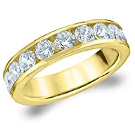 18K Yellow Gold Diamond Channel Set Wedding Band (1.5 cttw, H-I Color, I1-I2 Clarity)