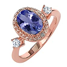 buy 1.27 Ct Oval Blue Tanzanite Aaaa 18K Rose Gold Plated Sterling Silver Diamond Accent Ring